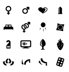 Black sex icon set vector