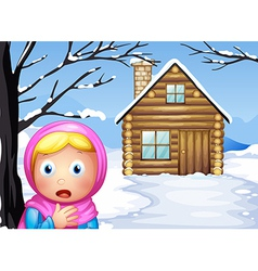 A little girl in the woods vector image vector image