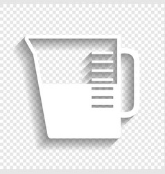 Beaker sign white icon with soft shadow vector