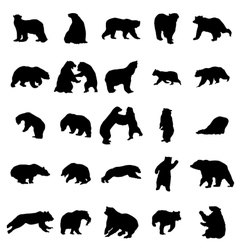 Bear silhouettes set vector
