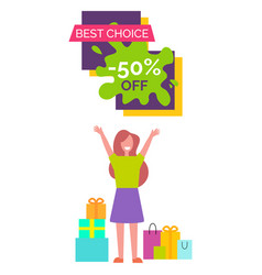 Best choice -50 with woman vector