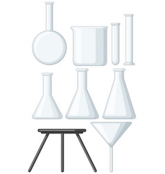 blank beakers and metal stand vector image vector image