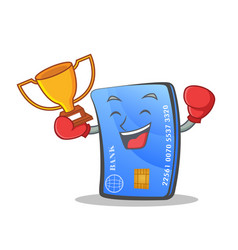 Boxing credit card character cartoon with winner vector