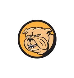 Bulldog head circle cartoon vector