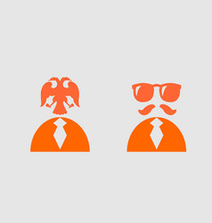 businessman torso 3d icon sunglasses and mustache vector image