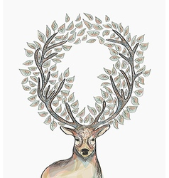 Christmas reindeer circle leaves composition EPS10 vector image