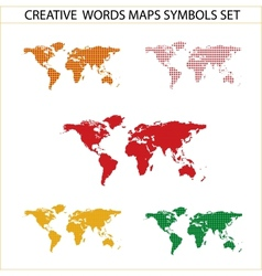 colored world maps set isolated on the white vector image