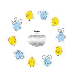 Easter round frame with funny bunnies and chicks vector