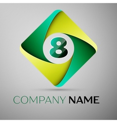 Eight number colorful logo in the rhombus template vector