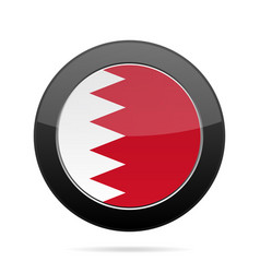 Flag of bahrain shiny black round button vector