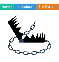 Flat design icon of bear hunting trap vector
