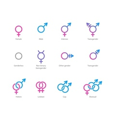 Gender symbol icon set vector image