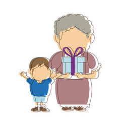 Grandma and her grandson standing happy vector