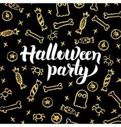 Halloween party gold black postcard vector