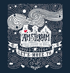 Hand drawn vintage label with amsterdam canal vector