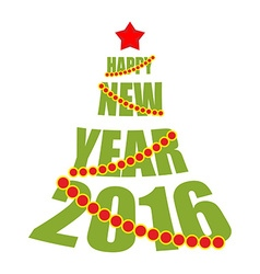 Happy new year 2016 Tree from text Red Star and vector image