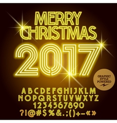 Light up yellow merry christmas 2017 greeting card vector