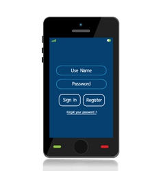 login mobile interface vector image