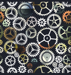 Metal color clockwork seamless pattern vector