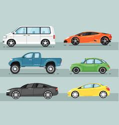 modern city car isolated set vector image vector image