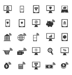 Online banking icons on white background vector