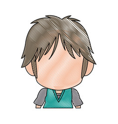 Profile anime tennager faceless drawing vector
