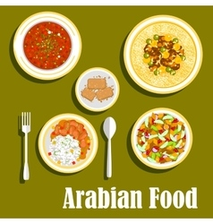 Regional arab cuisines dishes flat icon vector image