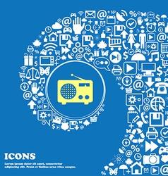 Retro radio sign icon Nice set of beautiful icons vector image