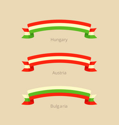 ribbon with flag of hungary austria and bulgaria vector image