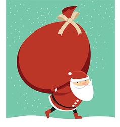 Santa claus holding sack vector
