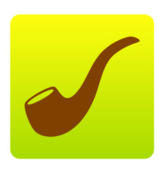 Smoke pipe sign brown icon at green vector