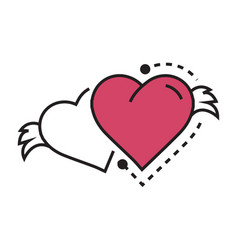 Two icon hearts wings pink vector