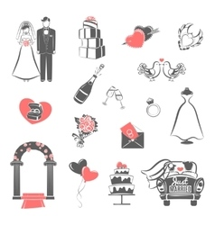 Wedding concept black red icons set vector image vector image