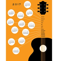2017 Guitar calendar vector image
