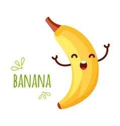 Cheerful cartoon banana raising his hands vector