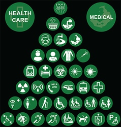 Medical and health care red icon collection vector