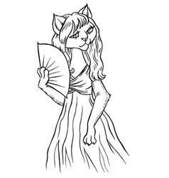 Playful cartoon cat in dress with fan vector