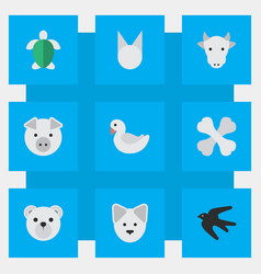 Set of simple animals icons elements wolf turtle vector
