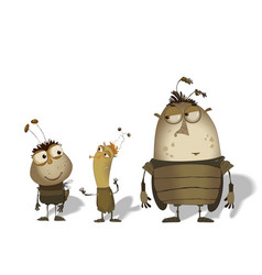 Set of funny cartoon bugs vector