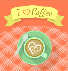 Cappuccino cup with ribbon and inscription vector