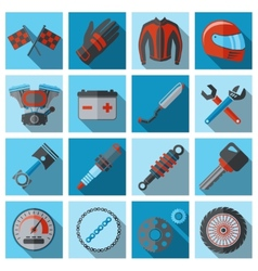 Motorcycle parts flat set vector