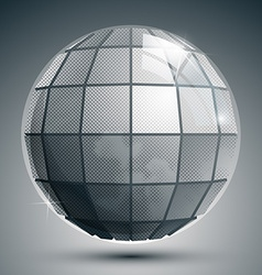 Plastic pixilated 3d spherical object grayscale vector