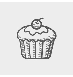 Cupcake with raspberry sketch icon vector