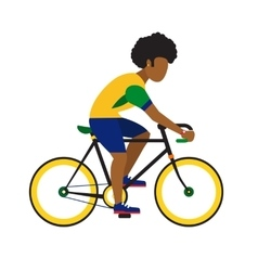 Black man ride by road bicycle cycling sport vector