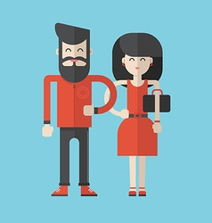 Flat style cartoon characters man and woman vector