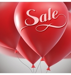 Sale label and flying balloon bunch vector