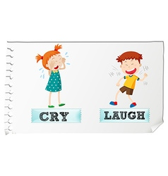 Opposite adjectives cry and laugh vector