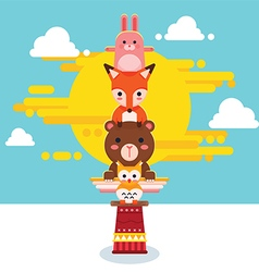 Cute animal totem pole vector