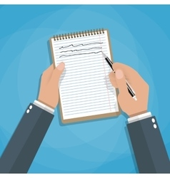 Hand holding notebook and pen vector image