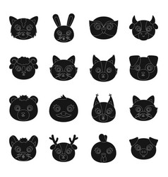Animal muzzle set icons in black style big vector